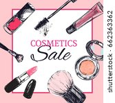 beauty store banner with make... | Shutterstock .eps vector #662363362
