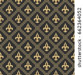 seamless pattern fleur de lis... | Shutterstock .eps vector #662364052