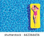 beautiful young woman tanning... | Shutterstock .eps vector #662366656