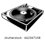 black and white turntable   Shutterstock .eps vector #662367148