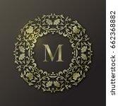 vector gold frame. monogram... | Shutterstock .eps vector #662368882
