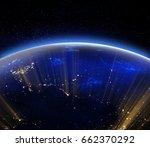 planet earth city lights. 3d... | Shutterstock . vector #662370292