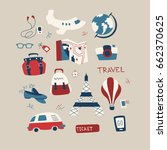 collection of hand drawn travel ... | Shutterstock .eps vector #662370625