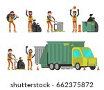 garbage man collecting city... | Shutterstock .eps vector #662375872