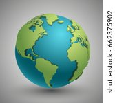 earth globe with green... | Shutterstock .eps vector #662375902
