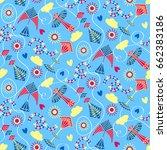 beautiful kites cute summer... | Shutterstock .eps vector #662383186