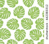 seamless pattern with monstera...   Shutterstock .eps vector #662383312