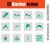 barber icon set. green on gray... | Shutterstock .eps vector #662383486