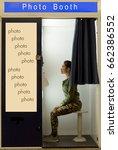 woman makes the portrait inside ... | Shutterstock . vector #662386552