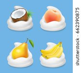 fruit and yogurt vector set.... | Shutterstock .eps vector #662390875