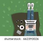freelance concept. freelancer... | Shutterstock .eps vector #662393026