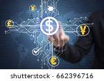 businessman touching financial...   Shutterstock . vector #662396716