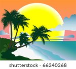 tropical beach. vector... | Shutterstock .eps vector #66240268