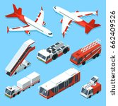 airplanes set and other support ... | Shutterstock .eps vector #662409526