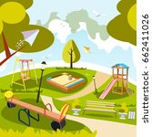 park and playground cartoon | Shutterstock .eps vector #662411026