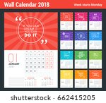 wall calendar template for 2018 ... | Shutterstock .eps vector #662415205