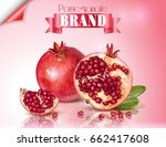 vector banner of pomegranate... | Shutterstock .eps vector #662417608