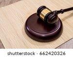 wooden judge gavel  on desk