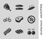 fat icons set. set of 9 fat... | Shutterstock .eps vector #662429506