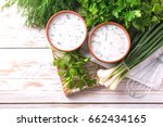 ayran with fresh herbs  ... | Shutterstock . vector #662434165