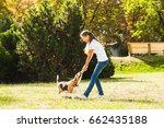 girl plays with a dog in the... | Shutterstock . vector #662435188