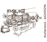 steampunk gun. an unusual... | Shutterstock .eps vector #662435296