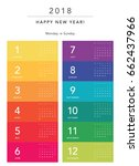 colorful calendar layout for... | Shutterstock .eps vector #662437966