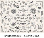 set of hand drawn vector nature ... | Shutterstock .eps vector #662452465