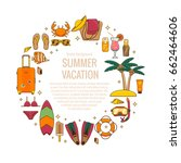 summer vacation beach icon... | Shutterstock .eps vector #662464606