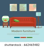 living room cozy interior with... | Shutterstock .eps vector #662465482