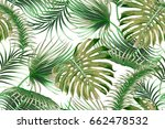 tropical palm leaves  jungle... | Shutterstock .eps vector #662478532
