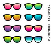 set of colorful sunglasses...   Shutterstock .eps vector #662484562