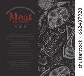 background with different meat...   Shutterstock .eps vector #662487928