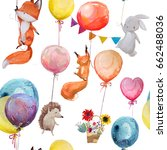 Stock photo seamless pattern with cute animals with balloons 662488036