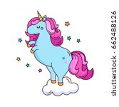 a funny unicorn character on... | Shutterstock .eps vector #662488126