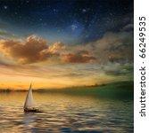 Beautiful Sunset With A Sailboat