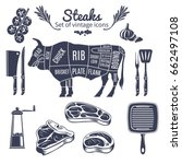 steaks icons set with butchery... | Shutterstock .eps vector #662497108