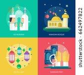 ramadan and eid mubarak... | Shutterstock .eps vector #662497822