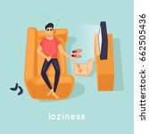 laziness guy is lying on the... | Shutterstock .eps vector #662505436