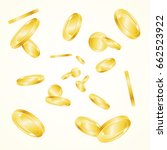 realistic golden coin falling... | Shutterstock . vector #662523922