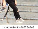 woman's long legs in black... | Shutterstock . vector #662524762