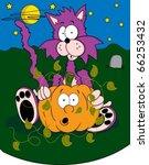 scared cartoon cat in a pumpkin ... | Shutterstock .eps vector #66253432