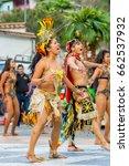 Small photo of Banos De Agua Santa, Ecuador - 29 November 2014: Group Of Traditional Huaorani People Performing Folk Dance On The Streets Of Banos De Agua Santa, South America, Christmas Holiday