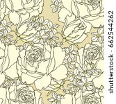 seamless pattern with flowers... | Shutterstock .eps vector #662544262