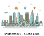 mexico detailed skyline. travel ... | Shutterstock .eps vector #662561206