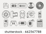 line icons set of retro... | Shutterstock .eps vector #662567788