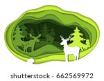 paper art carving with green... | Shutterstock .eps vector #662569972
