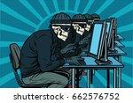 the hacker community  skeletons ... | Shutterstock .eps vector #662576752