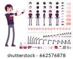 emo boy character creation set  ... | Shutterstock .eps vector #662576878