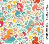 mermaids characters vector... | Shutterstock .eps vector #662576962